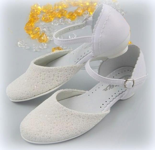 7010715f9c BUTY KOMUNIJNE Białe Dziewczęce Na obcasie Zapinane M-167 Deco Art